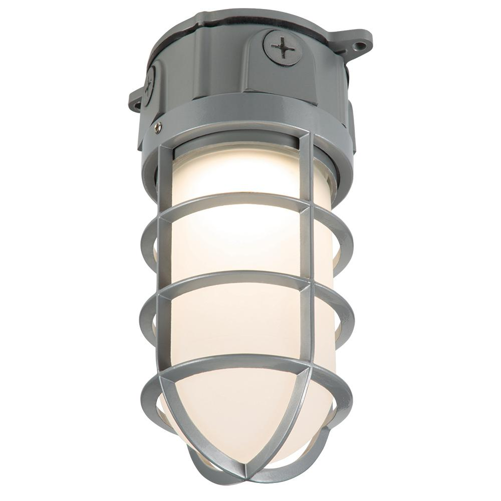 Gray Outdoor Integrated LED Vapor Tight Wall or Ceiling Mount Flood