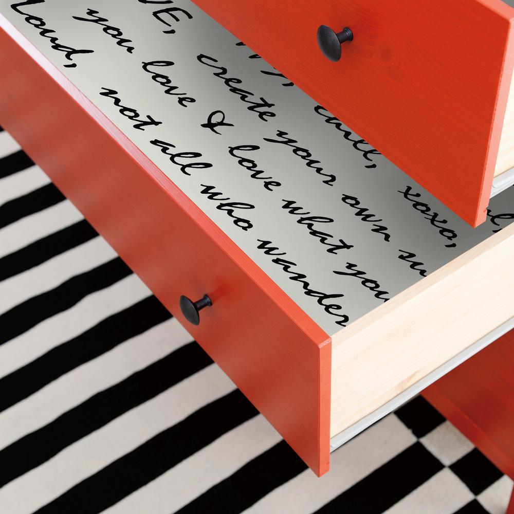 28.18 sq. ft. Black Dream Big Script Peel and Stick Wallpaper