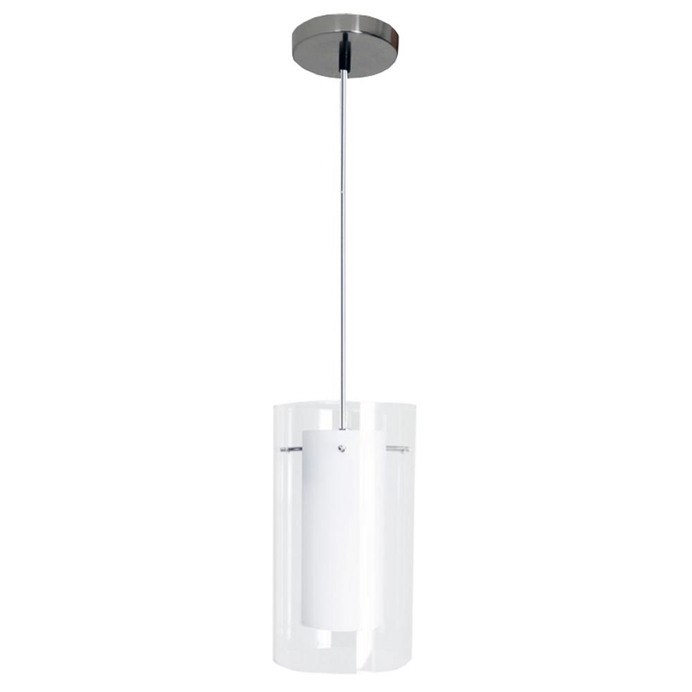 HomeSelects Contempo 1-Light Clear and White Mini-Pendant with 7-Watt LED L& Included-7210 - The Home Depot  sc 1 st  The Home Depot & HomeSelects Contempo 1-Light Clear and White Mini-Pendant with 7 ... azcodes.com