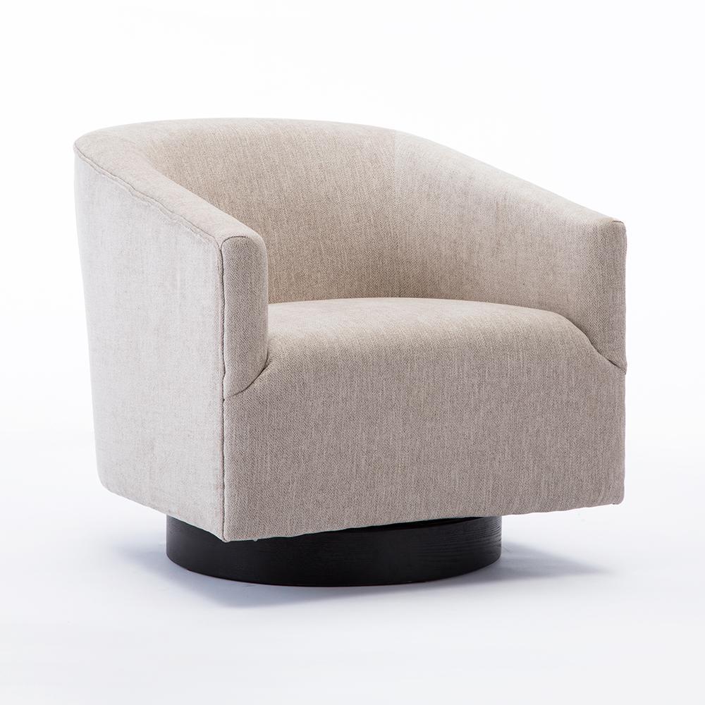 Geneva Oatmeal Wood Base Swivel Chair