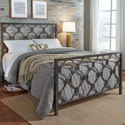 Baxter Heritage Silver King Metal Bed with Geometric Octagonal Design