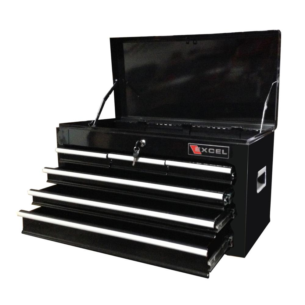26 in. 6 Drawer Top Chest in Black