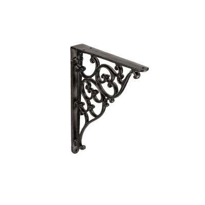 25 lbs., 8-1/16 in. Forged Iron Matte Black Shelf Bracket (Unitary)
