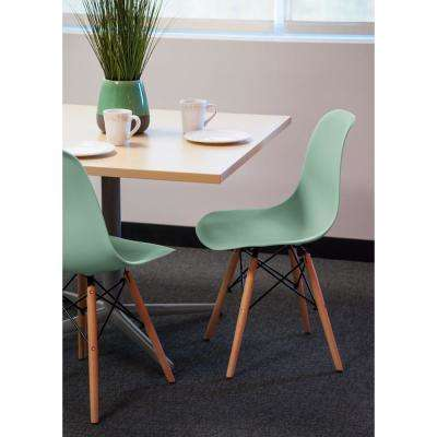 Green Plastic Shell Chair (Set of 2)