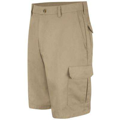 Men's Size 46 in. x 12 in. Khaki Cotton Cargo Short