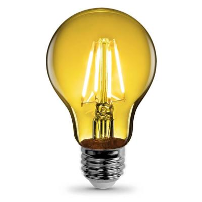 25-Watt Equivalent A19 Medium E26 Base Dimmable Filament Yellow Colored LED Clear Glass Light Bulb (6-Pack)