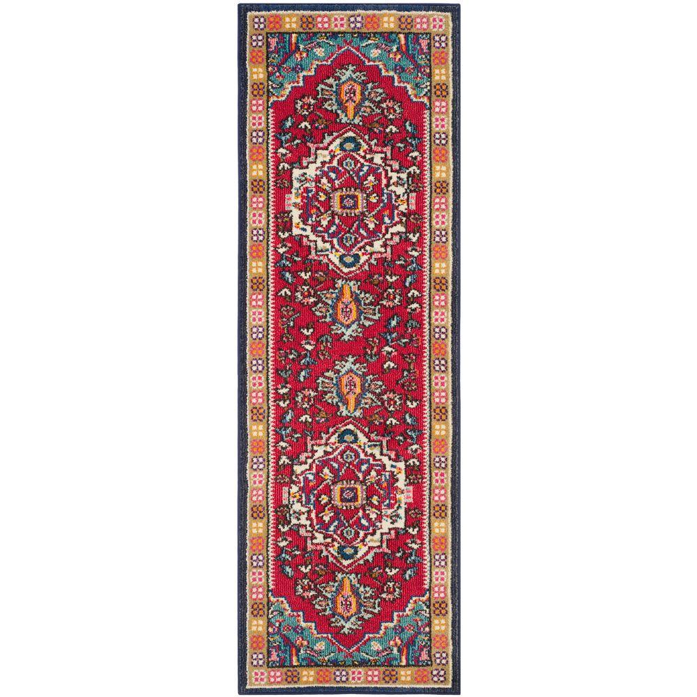 Safavieh Monaco RedTurquoise 2 ft 2 in x 12 ft RunnerMNC207C