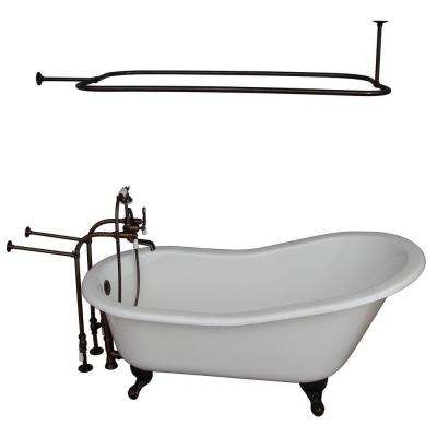 5.6 ft. Cast Iron Ball and Claw Feet Slipper Tub in White with Oil Rubbed Bronze Accessories