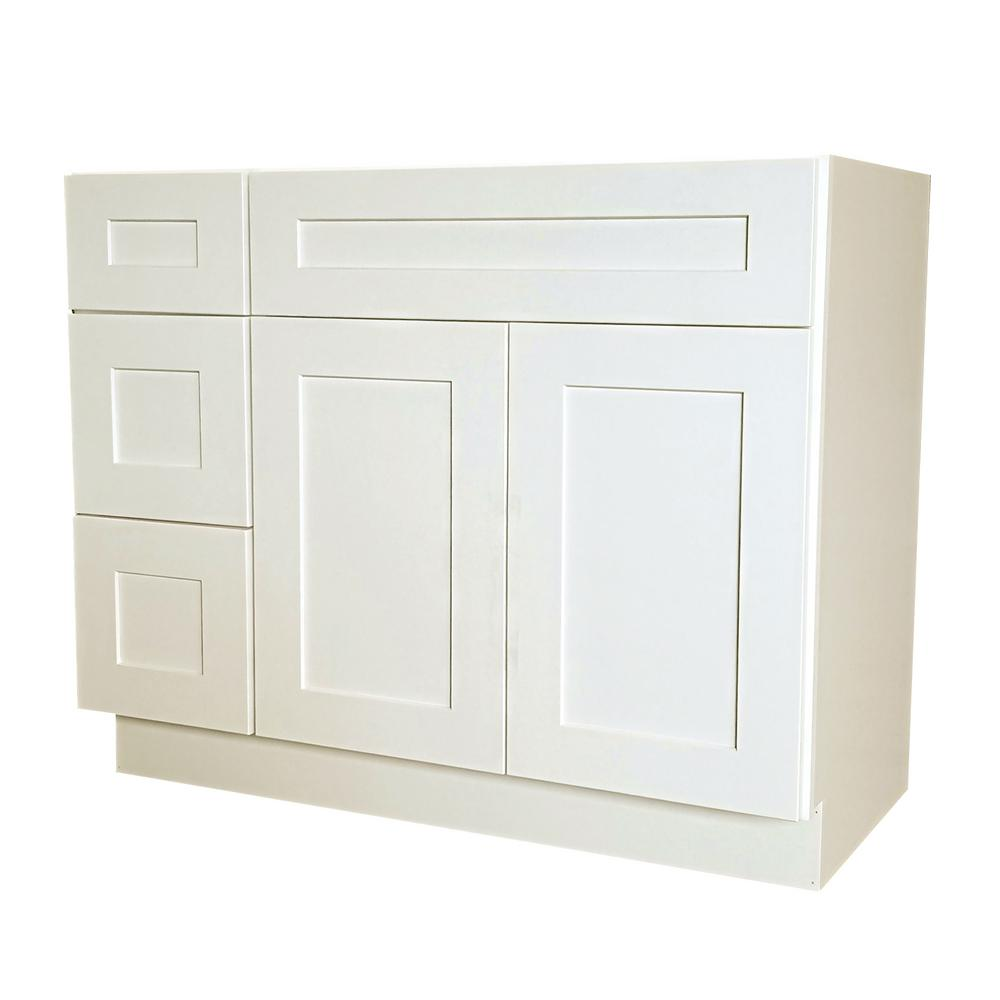 36 in. W x 21 in. D x 34.5 in. H Ready to Assemble Shaker Bath Vanity Cabinet with 2-Doors and Left Drawers in White