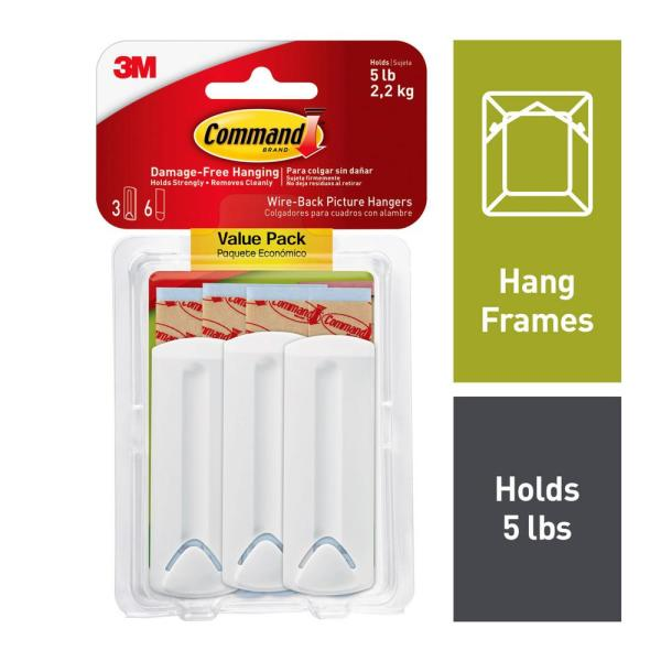 White Wire-Backed Picture Hanging Hooks (3-Pack)
