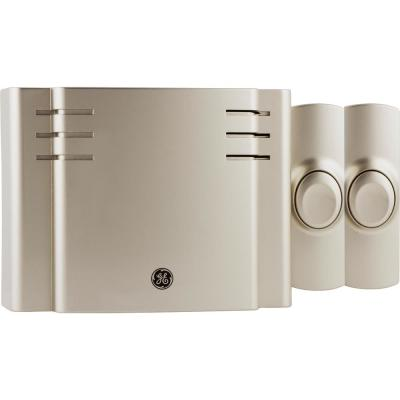 Satin Nickel, Wireless Door Bell Kit, 8 Melodies, 1 Receiver, 2 Push Buttons, Battery-Operated
