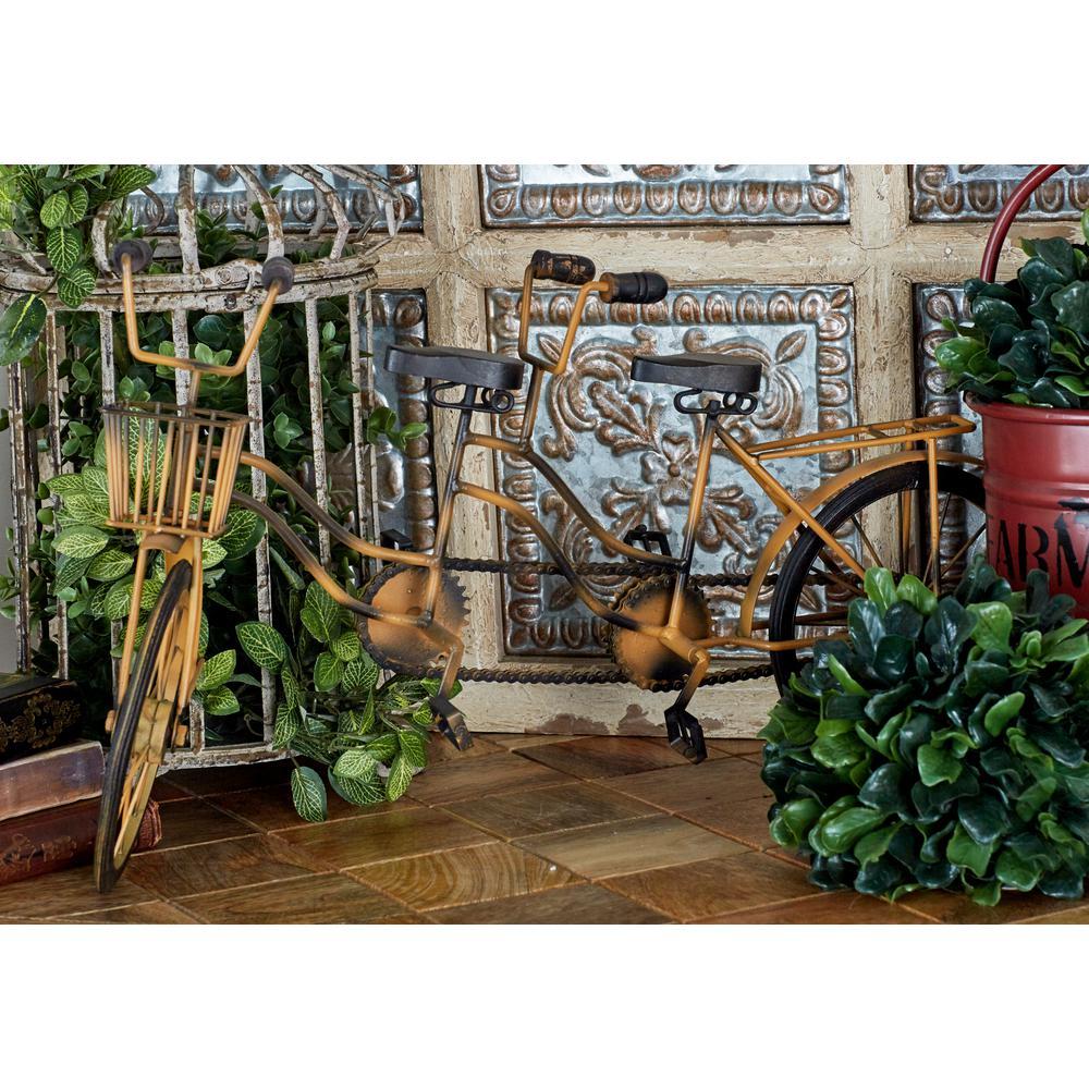 LITTON LANE Black Rosewood and Yellow-Washed Iron Vintage 2-Seater Bicycle Model, Brown
