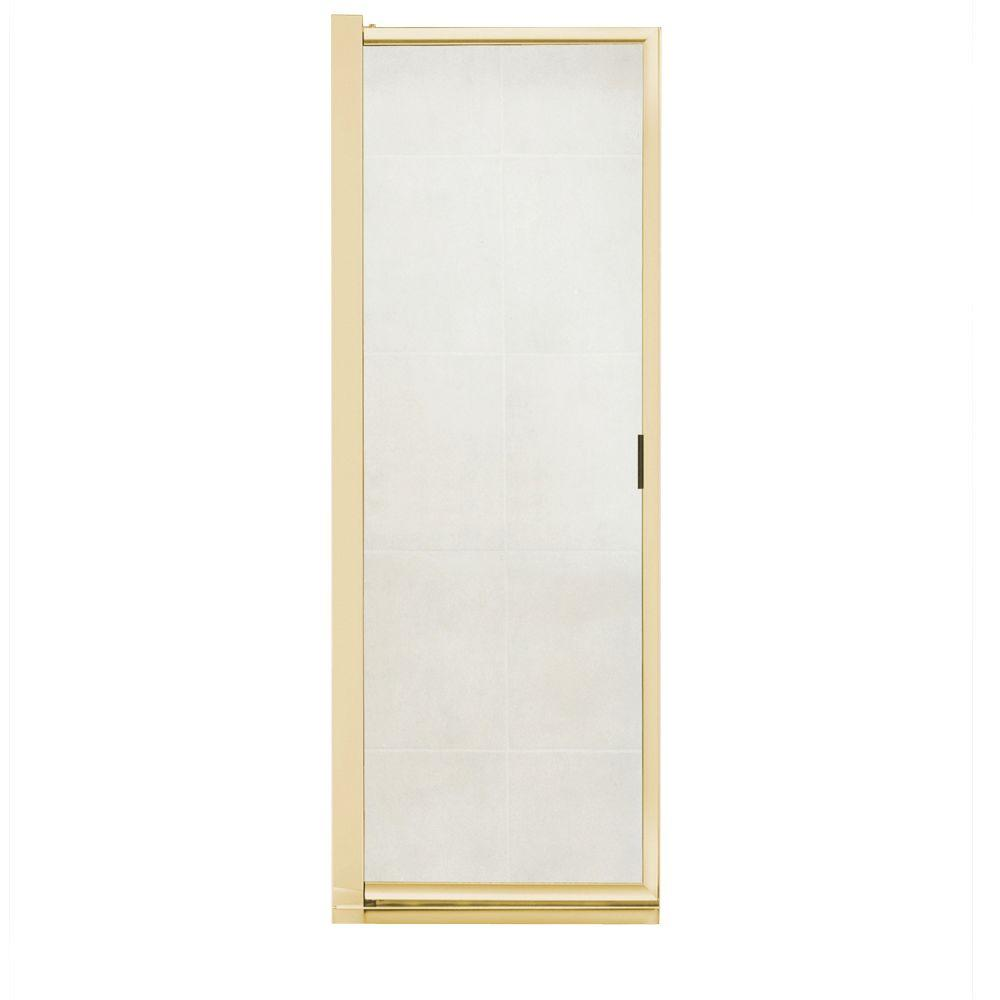 MAAX Progressive 34-1/2 in. to 36-1/2 in. W Swing-Open Shower Door in Polished Brass with Clear Glass-DISCONTINUED
