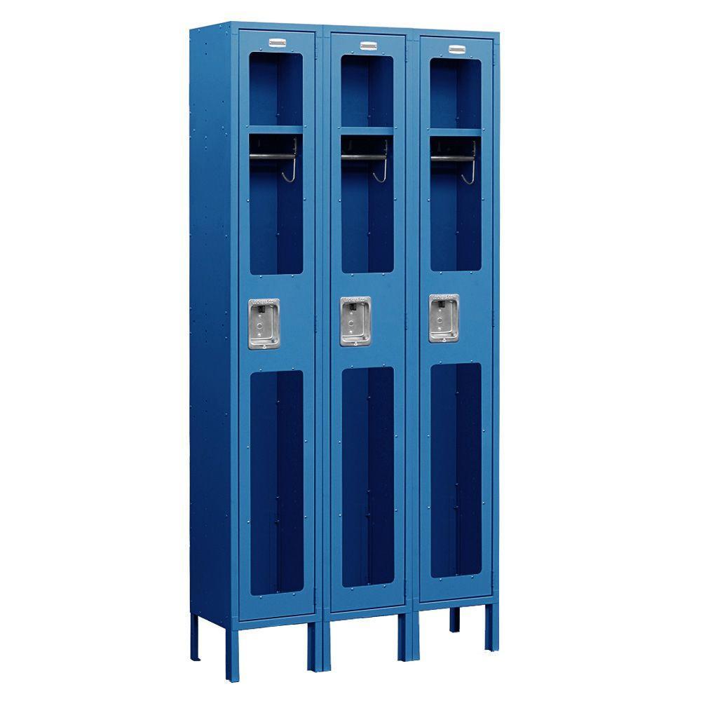 Salsbury Industries S-61000 Series 36 in. W x 78 in. H x 18 in. D Single Tier See-Through Metal Locker Unassembled in Blue