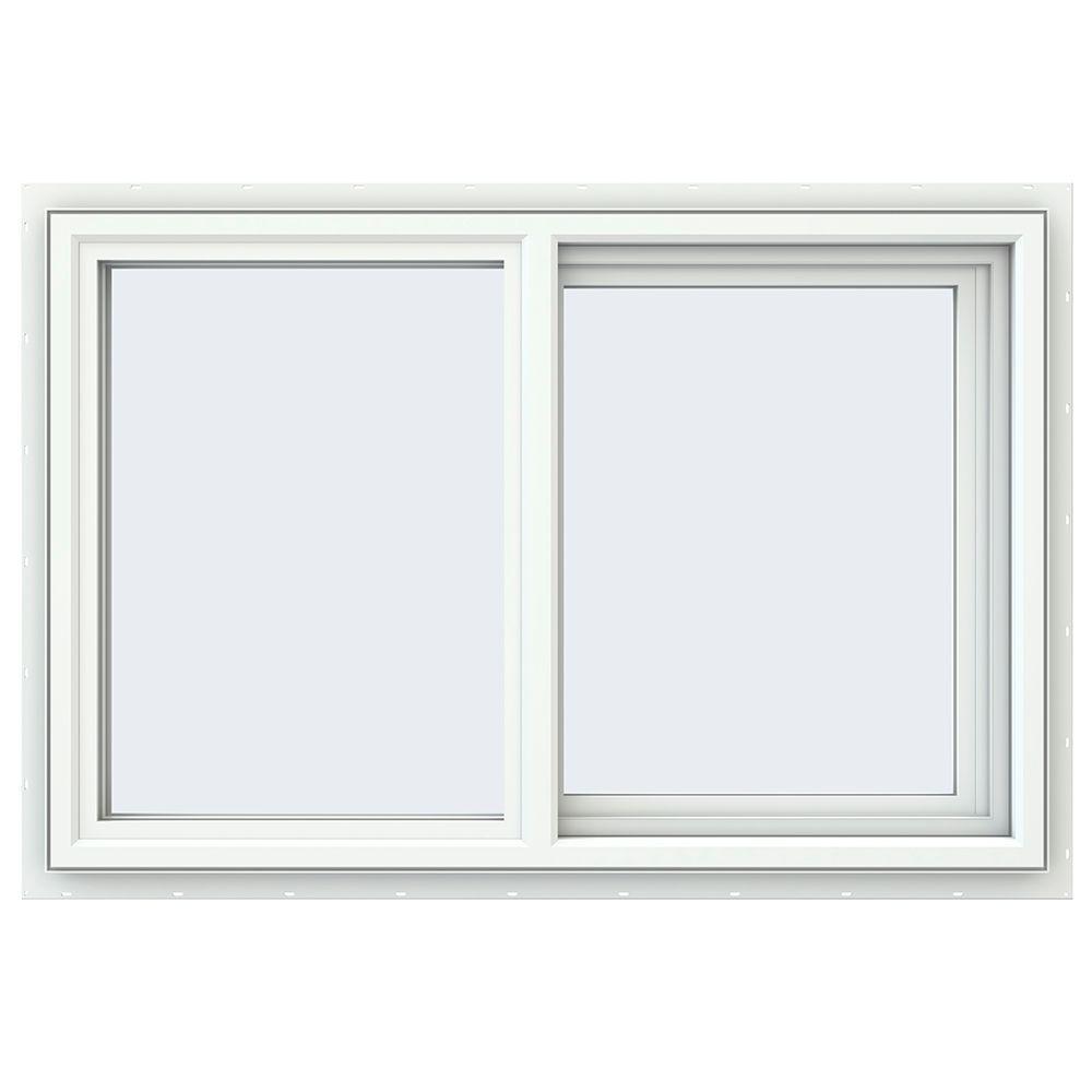 Jeld wen 35 5 in x 35 5 in v 2500 series right hand for Vinyl sliding windows