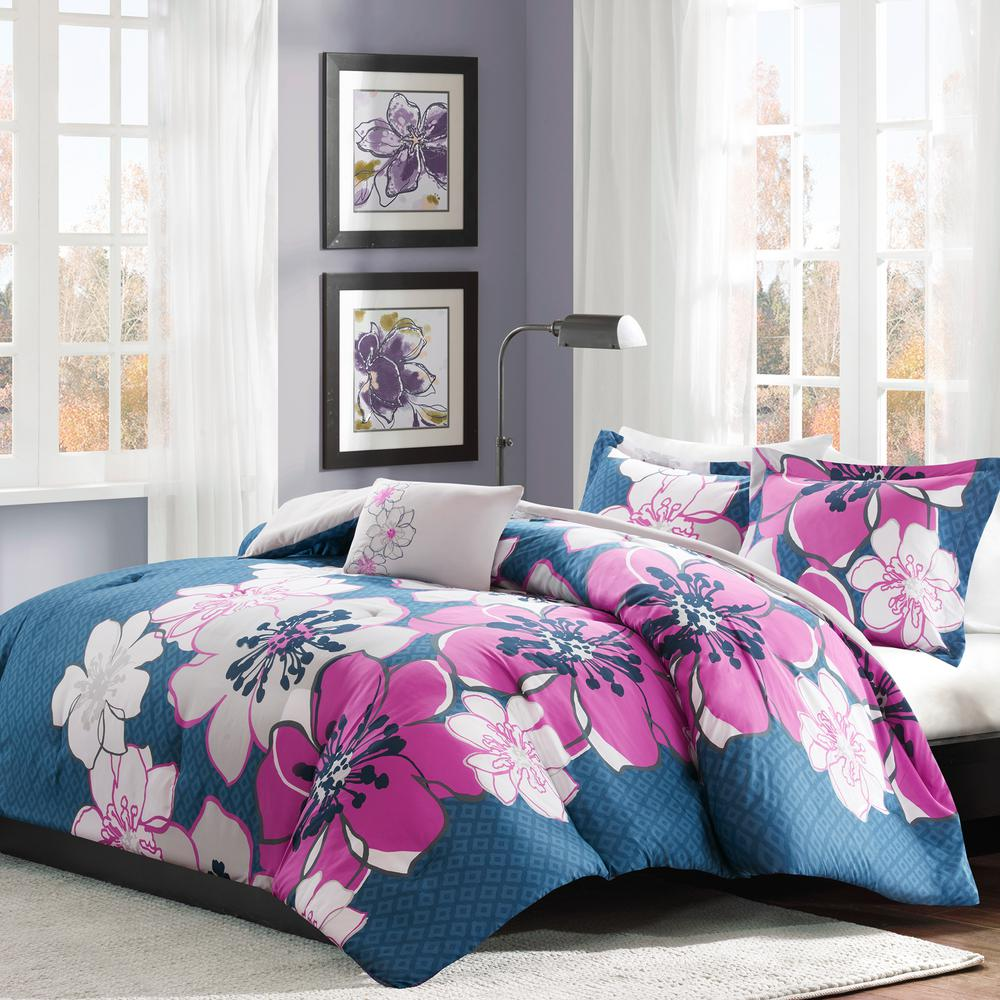Skylar 4-Piece Fuchsia Full/Queen Floral Comforter Set