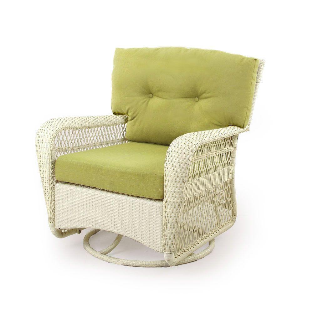 Martha Stewart Living Charlottetown Seashell All-Weather Wicker Patio Swivel Rocker with Green Bean Cushions-DISCONTINUED