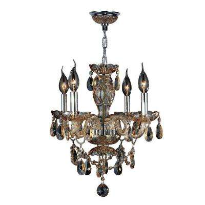Provence 4-Light Polished Chrome and Amber Crystal Chandelier