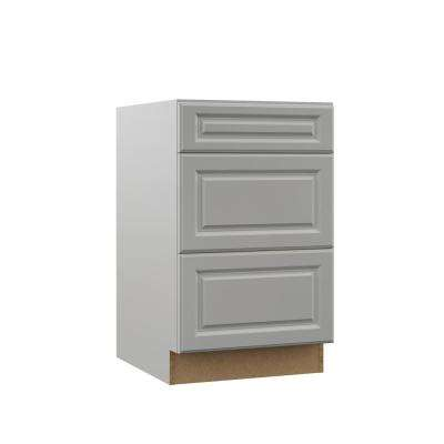 Elgin Assembled 21x34.5x23.75 in. Drawer Base Kitchen Cabinet in Heron Gray