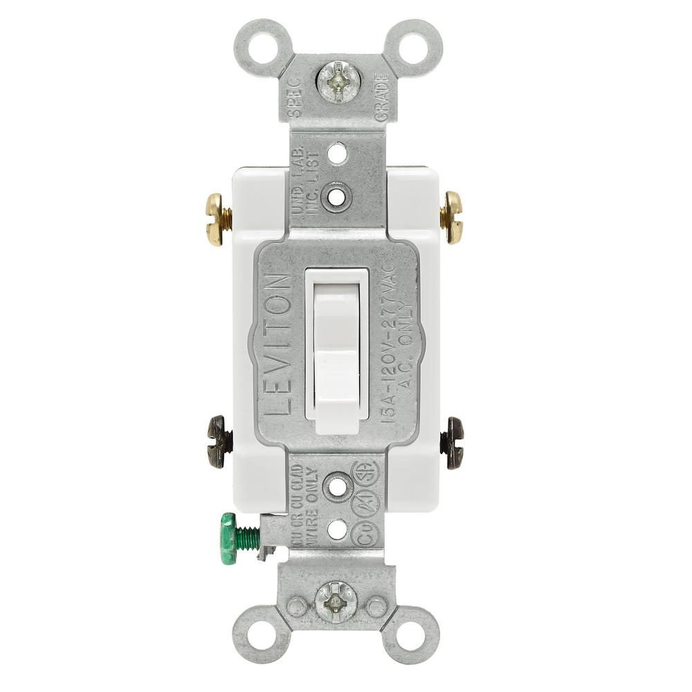 Leviton 15 Amp Single-Pole Toggle Framed 4-Way AC Switch, White-R52 ...