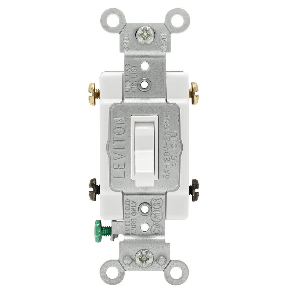 15 Amp Single Pole Toggle Framed 4 Way Ac Switch White