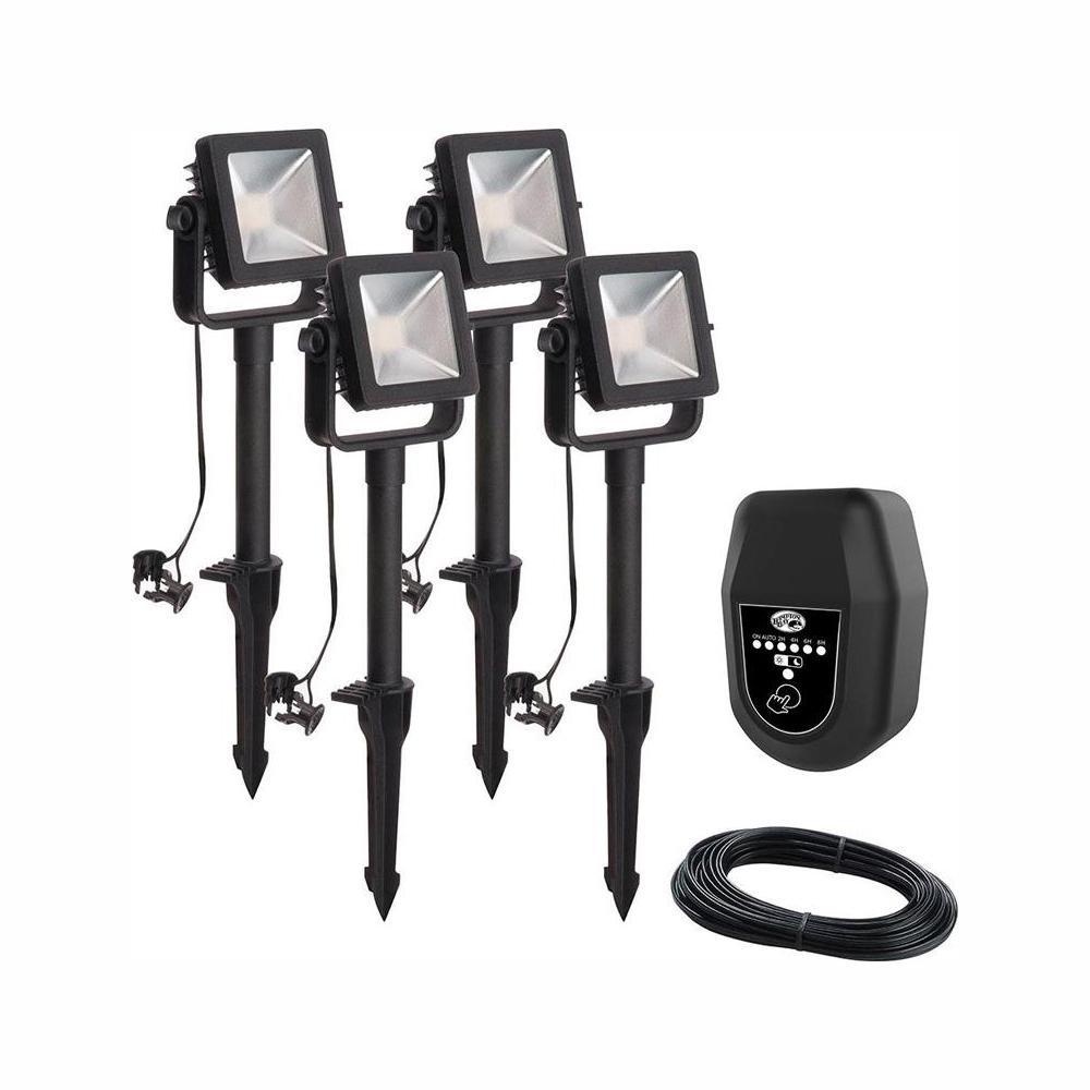 Hampton Bay Low Voltage Black Outdoor Integrated LED Landscape Flood Light  (4-Pack)
