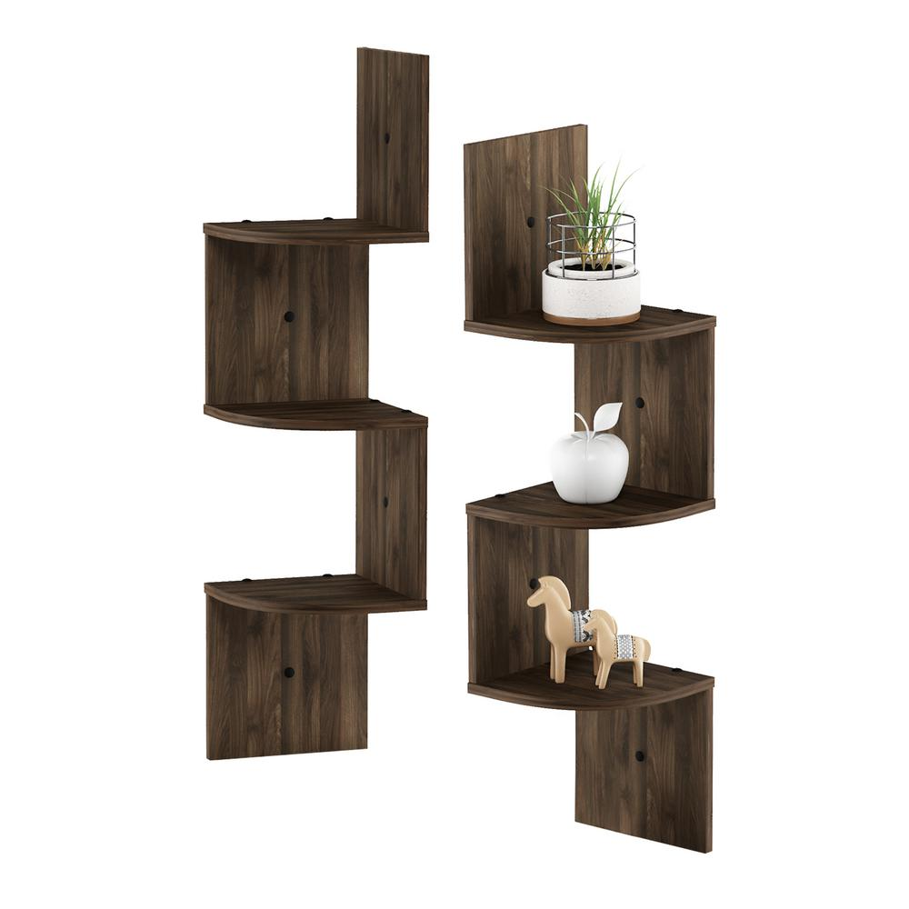 3 Tier Columbia Walnut Wall Mount Floating Corner Radial Shelf (Set