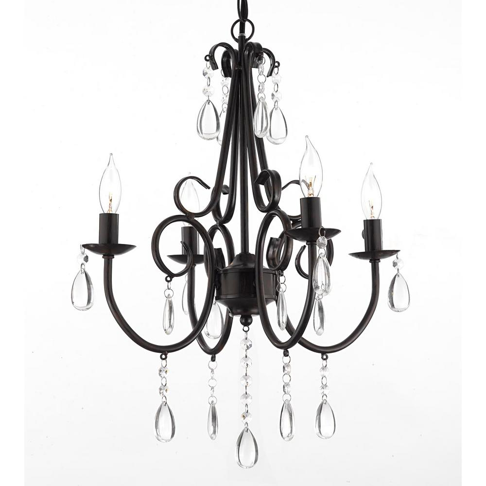 Harrison Lane Empress Iron And Crystal 4 Light Rustic Plug In