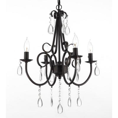 Empress Iron and Crystal 4-Light Rustic Plug in/Hardwire Chandelier