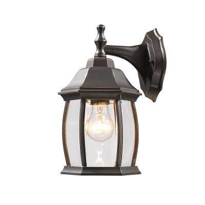 Remington 1-Light Oil Rubbed Bronze Outdoor Wall Lantern with Clear Beveled Glass