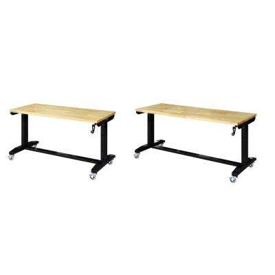 52 in. and 62 in. Adjustable Height Work Table, Black
