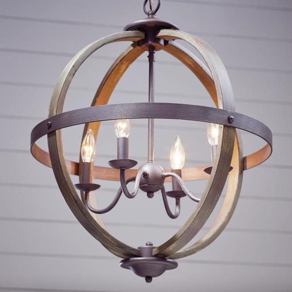 Progress Lighting Keowee Collection 19 88 In 4 Light Artisan Iron Orb Chandelier With Elm Wood Accents P400128 148 The Home Depot