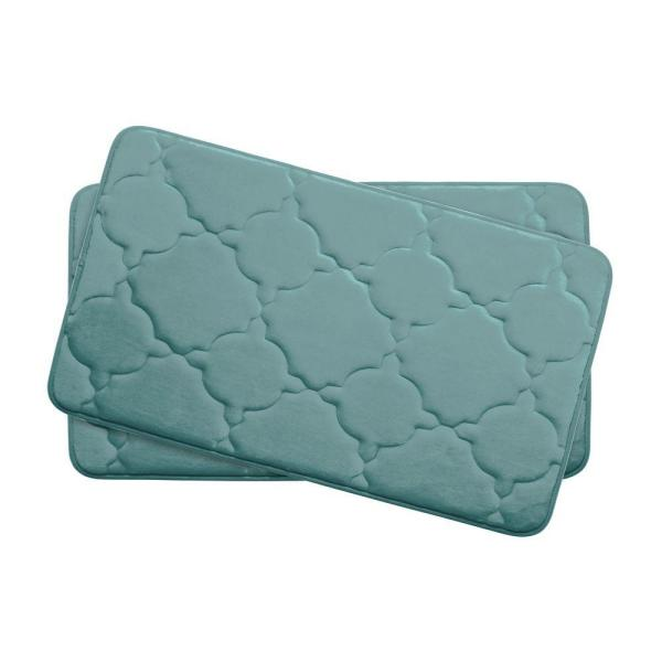 Bouncecomfort Dorothy Marine Blue 17 In X 24 In Memory Foam 2 Piece Bath Mat Set Ymb003693 The Home Depot