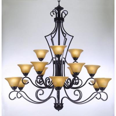 Versailles 15-Light Black Iron Chandelier