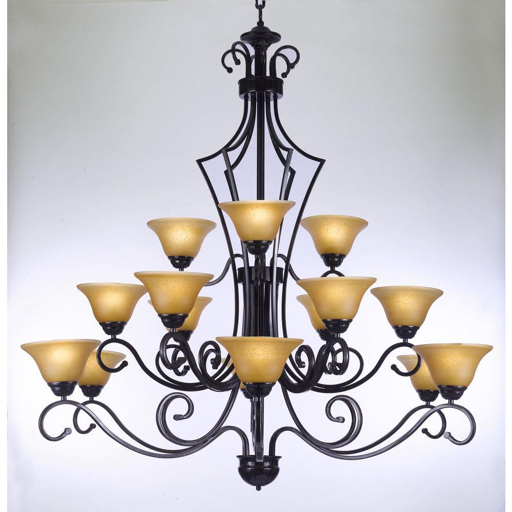 Versailles 15-Light Black Iron Chandelier