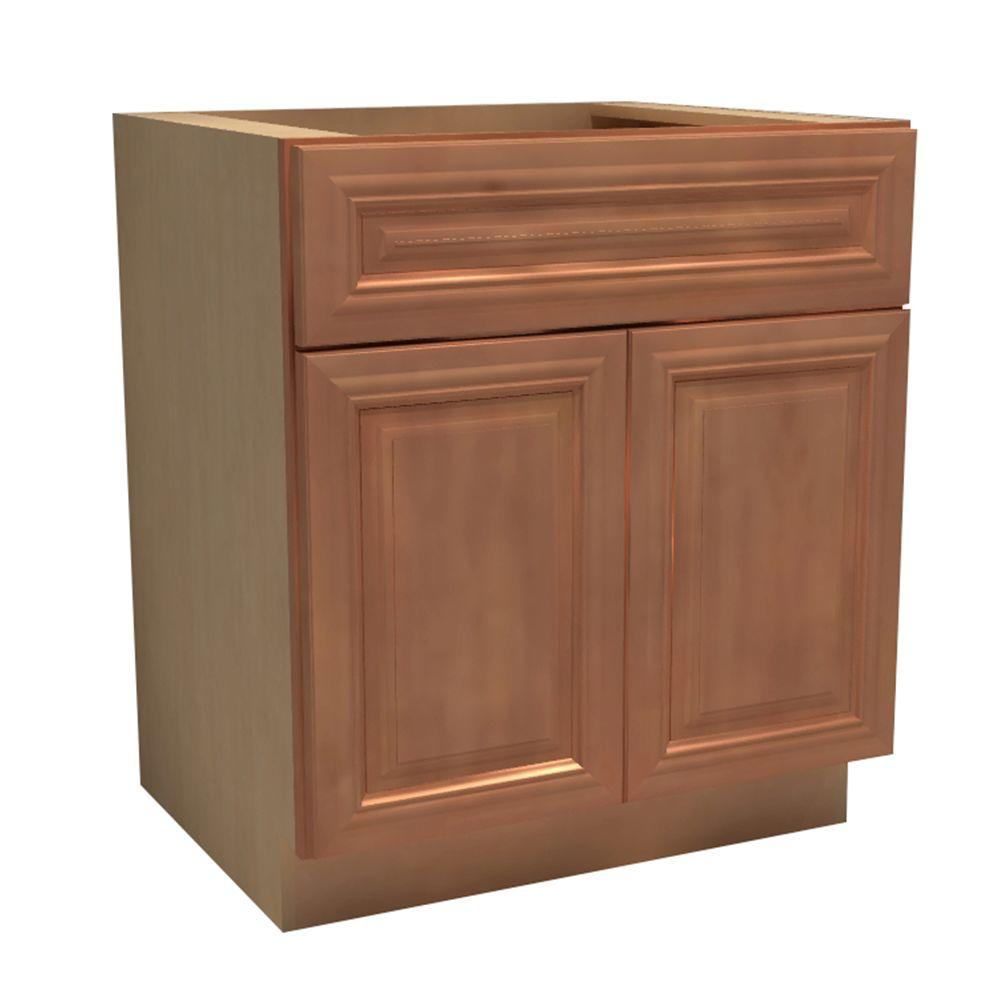 Home Decorators Collection Dartmouth Assembled 24x34.5x24 in. Double Door Base Kitchen Cabinet, Drawer & 2 Rollout Trays in Cinnamon