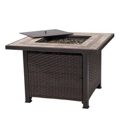 Pollack Square Ceramic Tile Top with Wicker Propane Firepit