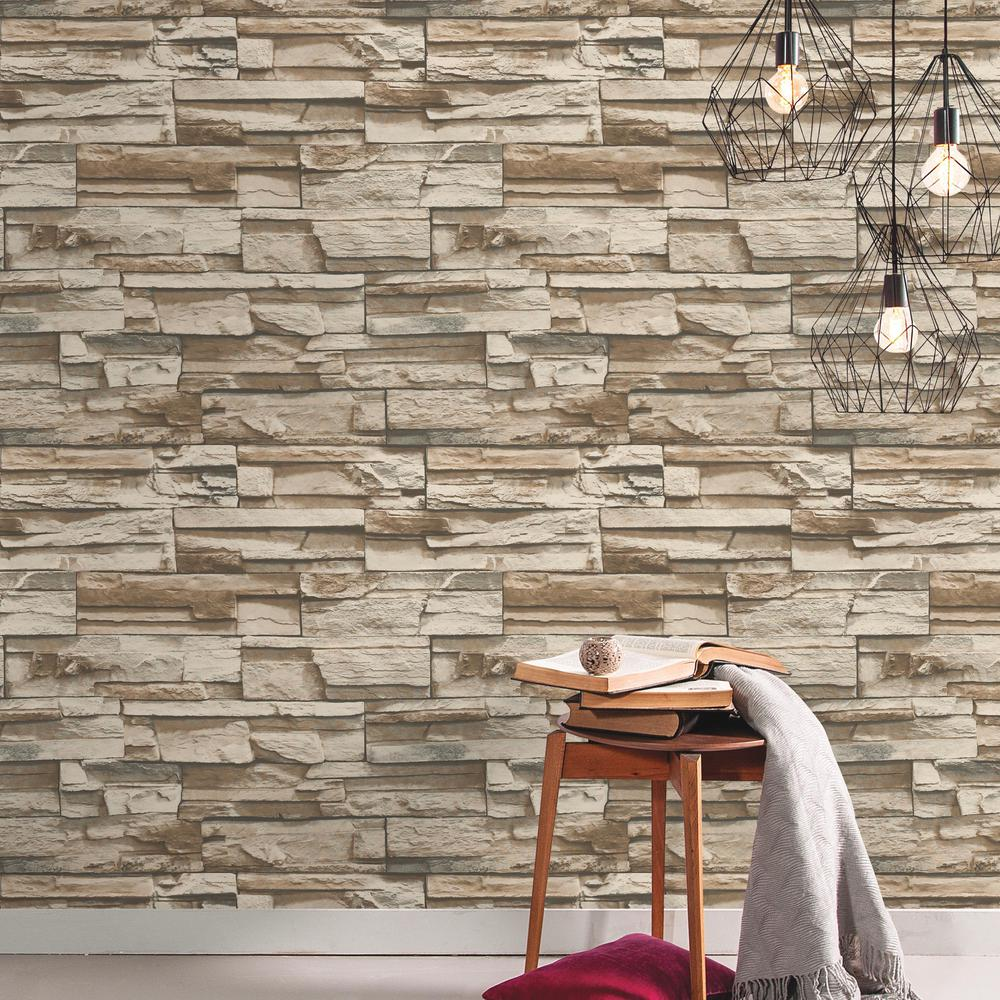 RoomMates 28.18 sq. ft. Gray and Brown Flat Stone Peel and Stick Wallpaper