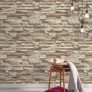 RoomMates 28.18 sq. ft. Gray and Brown Flat Stone Peel and ...