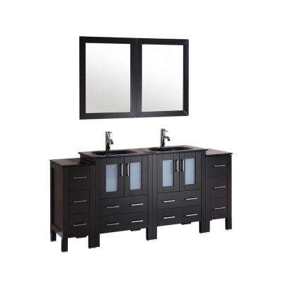 72 in. W Double Bath Vanity in Espresso with  Glass Vanity Top with Black Basin and Mirror