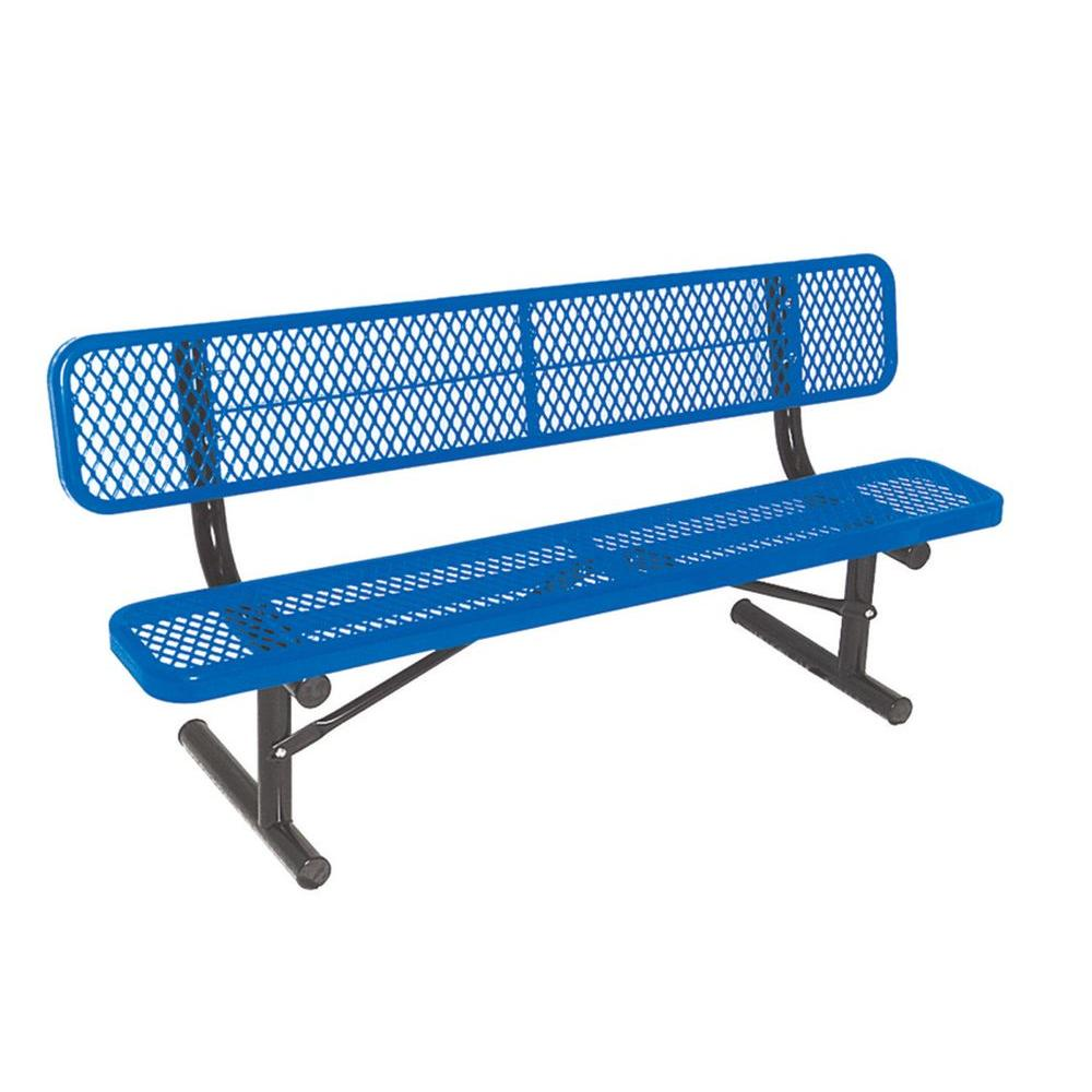6 ft. Diamond Blue Portable Commercial Park Bench with Back Surface