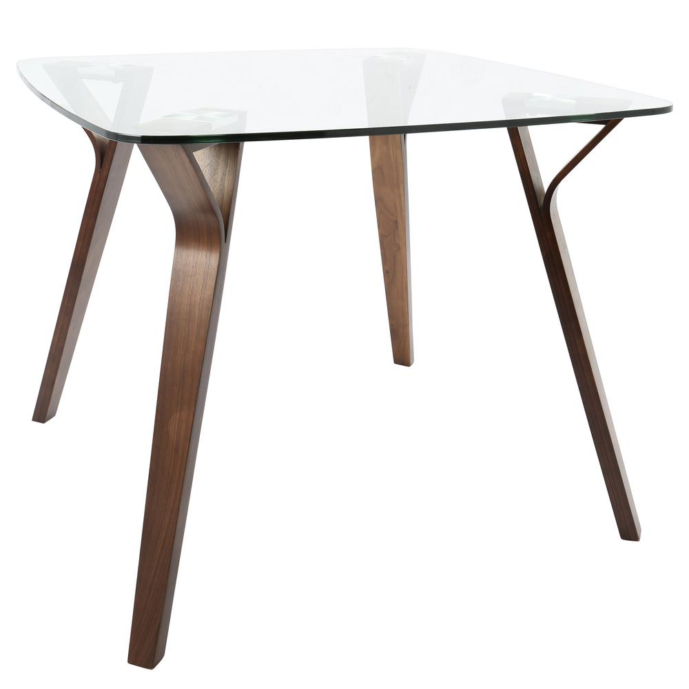 Lumisource folia mid century modern walnut square dining table with clear glass top