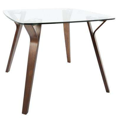 Folia Mid-Century Modern Walnut Square Dining Table with Clear Glass Top