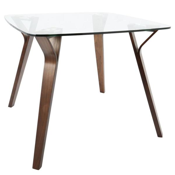 Lumisource Folia Mid Century Modern Walnut Square Dining Table With Clear Glass Top Dt Folia Wl Cl The Home Depot