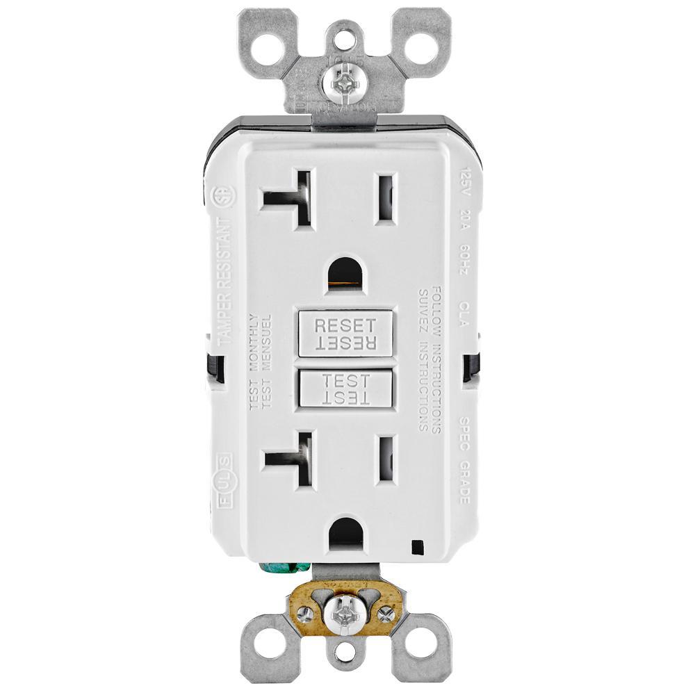 20 amp 125-volt duplex smartest self-test smartlockpro tamper resistant  gfci outlet,