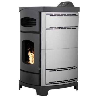 2,200 sq. ft. EPA Certified Pellet Stove with 40 lb. Hopper and Remote Control in Polished Stainless Steel Sides