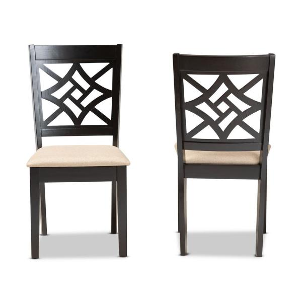Baxton Studio Nicolette Sand And Dark Brown Upholstered Dining Chair Set Of 2 176 2p 11386 Hd The Home Depot