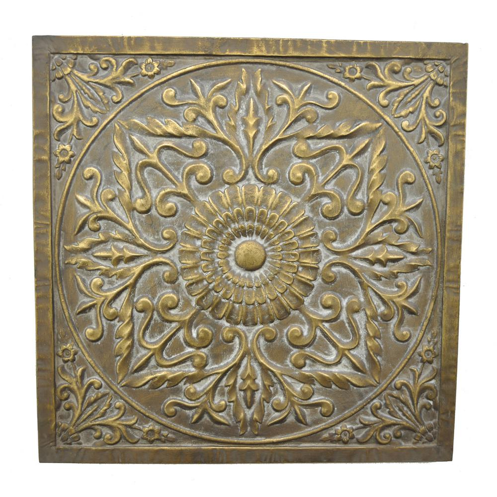 Metal Medallion Wall Art Three Hands Square Medallion Wall Art57521  The Home Depot
