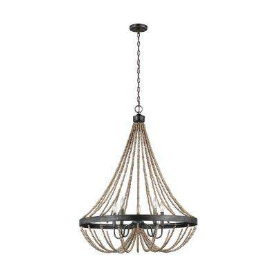 Oglesby 29 in. W. 5-Light Weathered Gray Chandelier with Washed Pine Beads with Dimmable Candelabra LED Bulbs