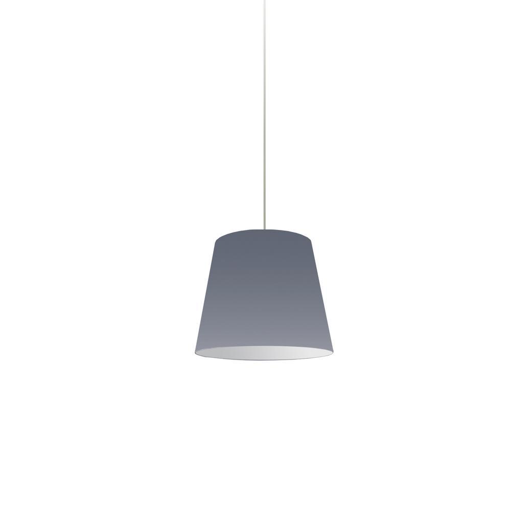 Oversized Drum 1-Light Grey Pendant with Fabric Shade